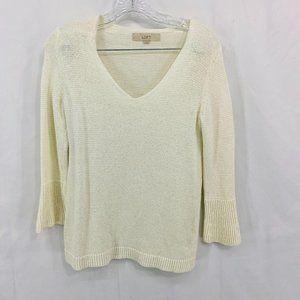 LOFT Cream V Neck Bell Sleeve Pullover